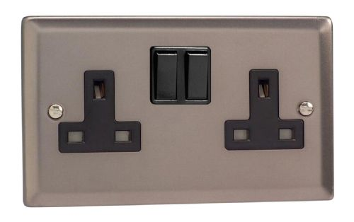 Varilight XR5B Classic Pewter 2 Gang Double 13A Switched Plug Socket